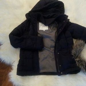 Down jacket with removable hood, and fur